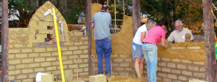 Construction of a mud brick home